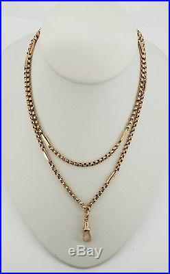 9ct Gold Victorian Fancy Belcher Link Muff / Guard Chain 29 Necklace. NICE1