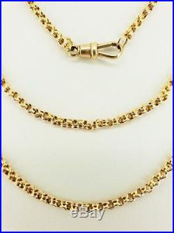 9ct Gold Victorian Fancy Belcher Link Muff / Guard Chain 44 Necklace. NICE1
