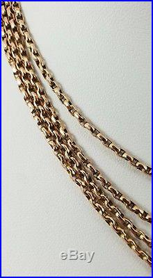 9ct Gold Victorian Muff / Guard Chain 56 Necklace. Superb. NICE1