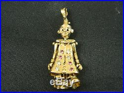 9ct Gold Women Doll / Clown 2 Stone Set 45mm Pendant Heavy 7.6g / Without Chain