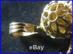 9ct Gold Womens Rag Doll Stone Set 60mm Pendant Heavy 14.3g / No Belcher Chain