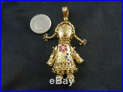 9ct Gold Womens Rag Doll Stone Set 60mm Pendant Heavy 19.4g / No Belcher Chain