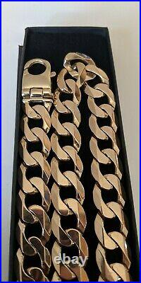 9ct Gold Yellow Curb Solid Heavy Chain Necklace Not Scrap
