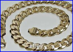 9ct Gold on Silver Curb Chain CHUNKY / HEAVY 20 22 24 26 30 inch MEN'S
