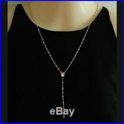 9ct Gold rosary beads necklace diamond cut. Miraculous medal & Cross. Made Italy