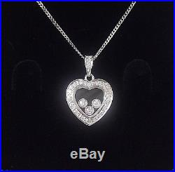 9ct Hallmarked White Gold 0.19cts Diamond Floating Hearts Pendant & Chain
