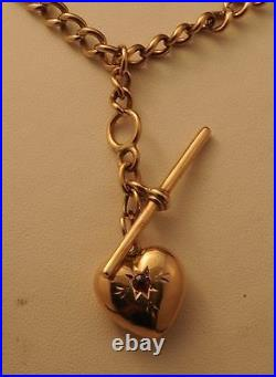 9ct Rolled Gold Necklace/Fob Chain with Love Heart Pendant Chain is Plated 9ct