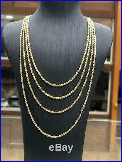 9ct Rope Chain 375 Hallmarked Solid Yellow Gold Necklace Brand New 2MM ALL SIZE