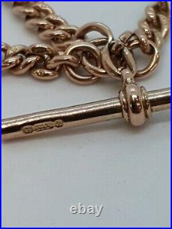 9ct Rose Gold Albert Chain Stamped Every Link Heavy 43 Grams