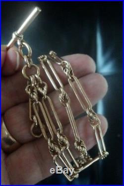 9ct Rose Gold Albert Pocket Watch Chain / Necklace c. 1910 Birmingham 29 grams