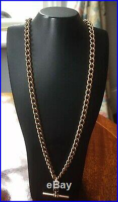 9ct Rose Gold Albert Watch Chain and T bar. Weight 42.8g
