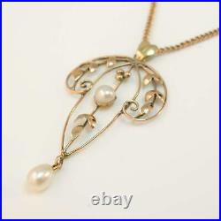 9ct Rose Gold Pearl Pendant With Antique Chain Antique Victorian Edwardian