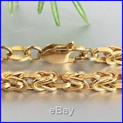 9ct SOLID GOLD Square Byzantine Chain LONG 24 1/4 30g UNISEX