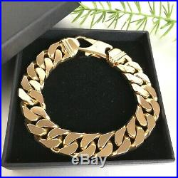 9ct SOLID ROSE GOLD CURB BRACELET HEAVY MEN'S CHAIN LINK 112.2g LONG 9