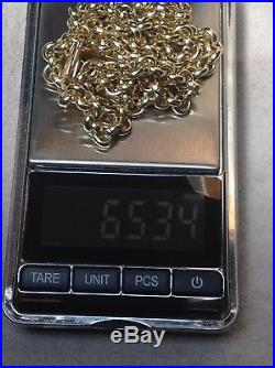 9ct Solid Gold Belcher Chain. 65.3 Grams, 22 NEW