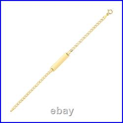 9ct Solid Gold Personalised Baby Bracelet Curb Chain id Engraved for Girls Boys