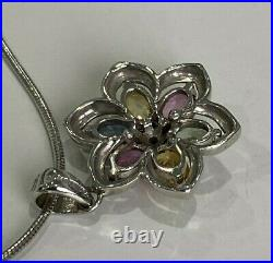 9ct Solid Gold with Multi color Sapphire & Diamond pendant on Silver Chain