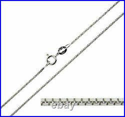 9ct Solid White Gold 16 18 20 22 24 26 28 30 inch Fine Box Link Chain Necklace