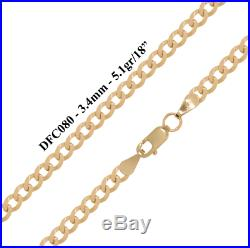 9ct Solid Yellow Gold Flat Curb Chain Necklace Bracelet 3.4mm -Various Lengths