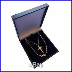 9ct Solid Yellow Gold Small Plain Cross and Chain 22x13mm Quality UK 375 HM