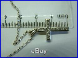 9ct White Gold Diamonds Cross Pendant On 18 Inch Chain 0.35 Carats