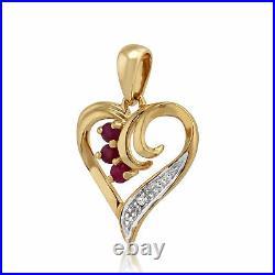 9ct Yellow Gold 0.13ct Ruby & Diamond Heart Pendant on 45cm Chain
