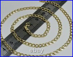 9ct Yellow Gold 18 inch Curb Chain Necklace 4mm Width