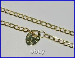9ct Yellow Gold 18 inch Curb Chain Necklace Heart Padlock Clasp