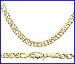 9ct Yellow Gold 18 inch Double Link Curb Chain / Necklace UK Hallmarked