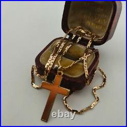 9ct Yellow Gold Cross Pendant On Fancy Link Chain Necklace
