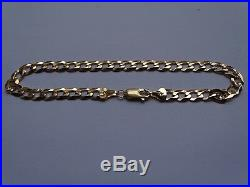 9ct Yellow Gold Flat Curb Chain Bracelet Fully Hallmarked