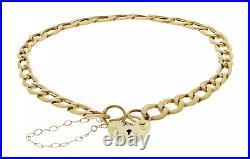 9ct Yellow Gold Heart Padlock Charm Bracelet 7.5 inch