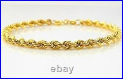 9ct Yellow Gold Hollow Rope Chain Bracelet 19cm / 7.5 inch