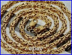 9ct Yellow Gold On Silver 22 Inch Square Byzantine Solid Link Chain Mens /ladies