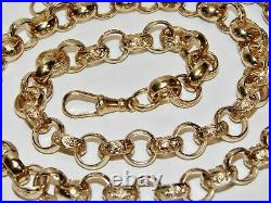 9ct Yellow Gold On Silver 26 Inch Patterned Solid Belcher Chain