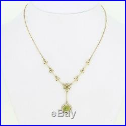 9ct Yellow Gold Peridot & Seed Pearl Pendant & Chain Necklace
