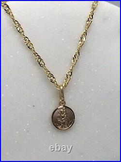 9ct Yellow Gold SolidPlain Extra Small St Christopher Necklace Pendant Chain 18