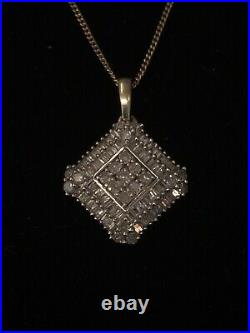 9ct Yellow Gold Square Cluster Diamond Pendant And 18 Inch Chain