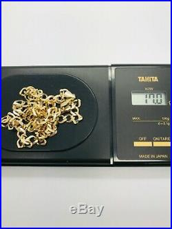 9ct Yellow Solid Gold Curb Chain 22