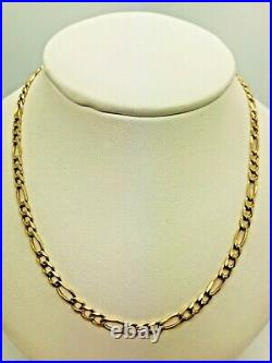 9ct Yellow Solid Gold Figaro Chain 22