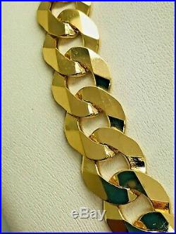 9ct Yellow Solid Gold Heavy Curb Chain 12.8mm 22 CHEAPEST ON EBAY