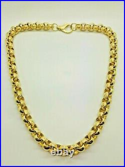 9ct Yellow Solid Gold Plain/Patterned Heavy Belcher Chain 13.0mm 24