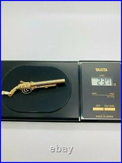 9ct Yellow Solid Gold Shot Gun Pendant (with Bullets)