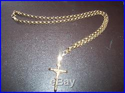 9ct gold 20 inch belcher chain and2 inch 9ct gold cross