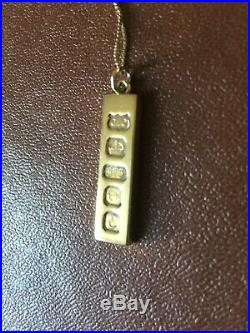 9ct gold Ingot Pendant and Box Link Chain