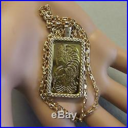 9ct gold New bullion bar lady luck pendant with 20g fine gold ingot & chain