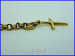 9ct gold Pocket watch Albert chain with T Bar, swivel & cross pendant