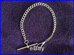 9ct gold albert watch chain t bar bracelet rose gold full hallmarked