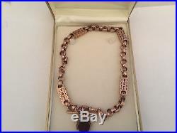 9ct gold albert watch chain t bar fancy link rose gold c1900s rare piece c1907
