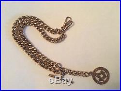 9ct gold albert watch chain t bar rose gold & 9ct gold masonic fob 26g rare item